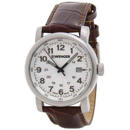 Wenger Urban Classic Analog Watch - Leather Strap in White/Brown - Closeouts