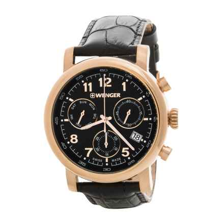 Wenger Urban Classic Chronograph Watch - 43mm, Leather Strap (For Women) in Pink Gold/Black/Black - Closeouts