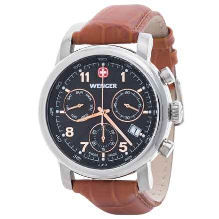 Wenger Urban Classic Chronograph Watch - 43mm, Leather Strap in Black/Honey Brown - Closeouts