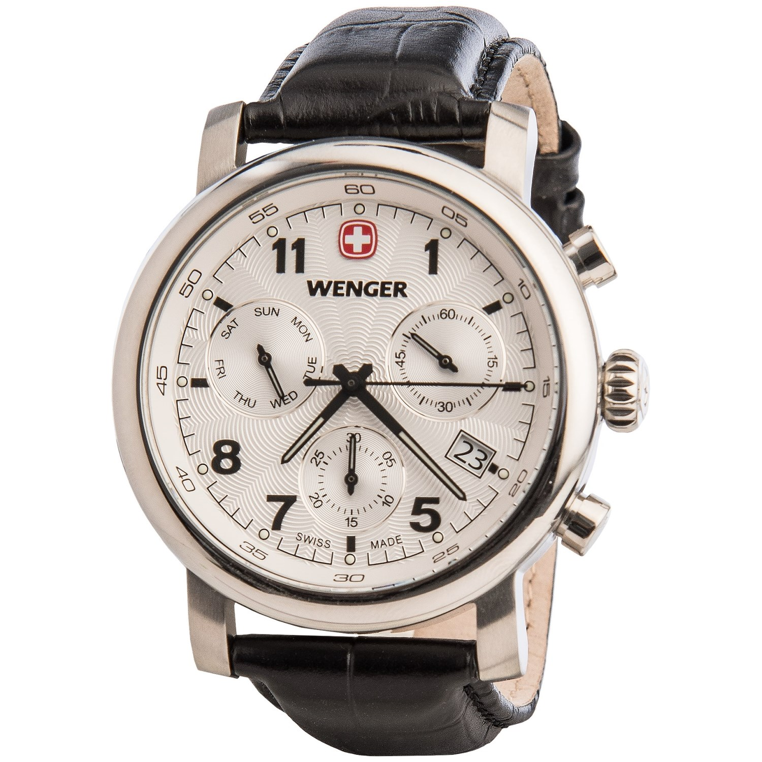 wenger urban classic chronograph watch 43mm leather. Black Bedroom Furniture Sets. Home Design Ideas