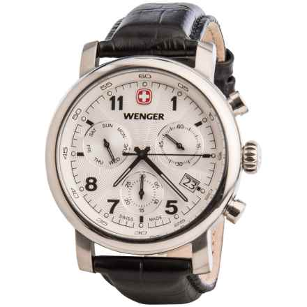 Wenger Urban Classic Chronograph Watch - 43mm, Leather Strap in White/Black - Closeouts