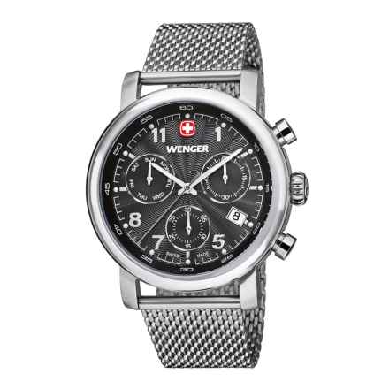 Wenger Urban Classic Chronograph Watch - 43mm, Polished Stainless Steel Mesh Bracelet in Charcoal/Stainless Steel - Closeouts