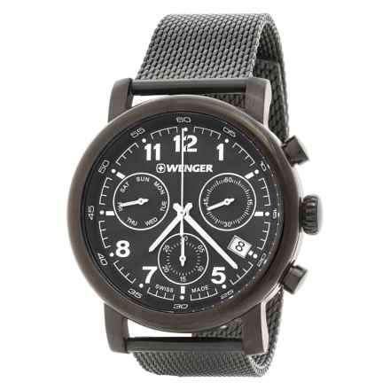 Wenger Urban Classic Chronograph Watch - 43mm, Stainless Steel Mesh Bracelet in Black/Gunmetal - Closeouts