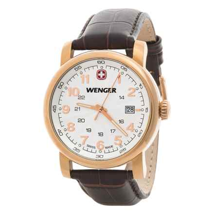 Wenger Urban Classic Quartz Watch - 41mm, Leather Strap in White/Rose Gold/Brown - Closeouts
