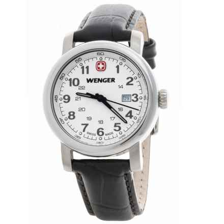 Wenger Urban Classic Small 34mm Watch - Leather Strap (For Women) in White/Brown - Closeouts