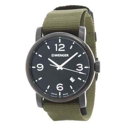 Wenger Urban Metropolitan Black Dial Swiss Quartz Watch - 41mm, Nylon Canvas Strap in Black/Green - Closeouts
