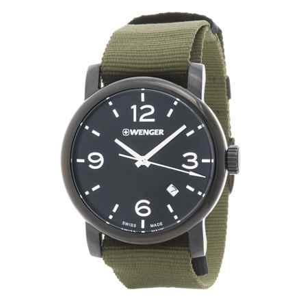 Wenger Urban Metropolitan Black Dial Swiss Quartz Watch - 41mm, Nylon Canvas Strap in Black/Green - Closeouts
