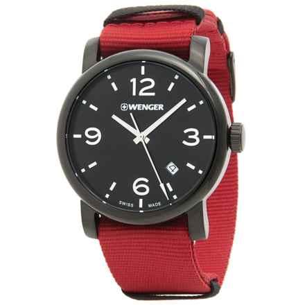 Wenger Urban Metropolitan Black Dial Swiss Quartz Watch - 41mm, Nylon Canvas Strap in Black/Red - Closeouts