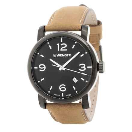 Wenger Urban Metropolitan Swiss Quartz Watch - 41mm, Leather Strap in Black/Brown - Closeouts
