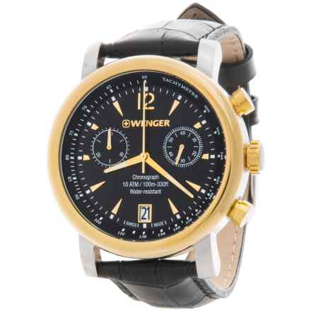 Wenger Urban Vintage Chronograph Watch - 43mm, Leather Band in Black/Black - Closeouts