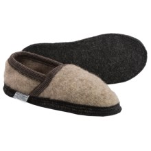 Wesenjak Boiled Wool Moc Slippers (For Men and Women) in Tan Heather - Closeouts