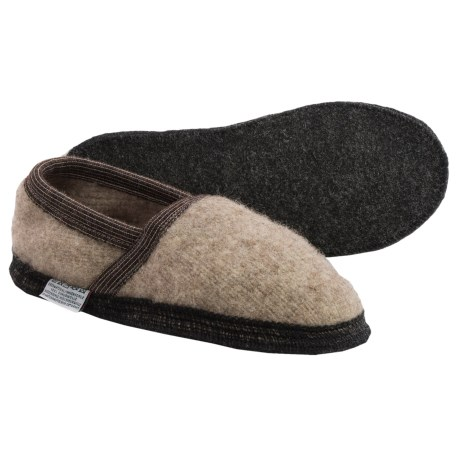 Wesenjak Boiled Wool Moc Slippers (For Men and Women) in Tan Heather