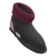 Wesenjak Slipper Booties with Cuff -  Boiled Wool (For Kids) in Dark Grey Heather - Closeouts