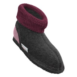 Wesenjak Slipper Booties with Cuff -  Boiled Wool (For Kids) in Light Grey Heather