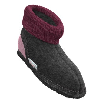 Wesenjak Slipper Booties with Cuff -  Boiled Wool (For Kids) in Dark Grey Heather