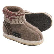Wesenjak Slipper Booties with Cuff -  Boiled Wool (For Kids) in Light Brown Heather/Multi - Closeouts