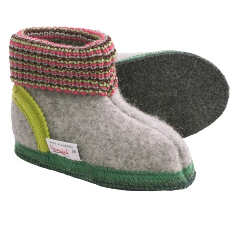 Wesenjak Slipper Booties with Cuff -  Boiled Wool (For Kids)