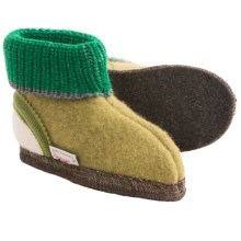 Wesenjak Slipper Booties with Cuff -  Boiled Wool (For Kids) in Moss Green/Green/White - Closeouts