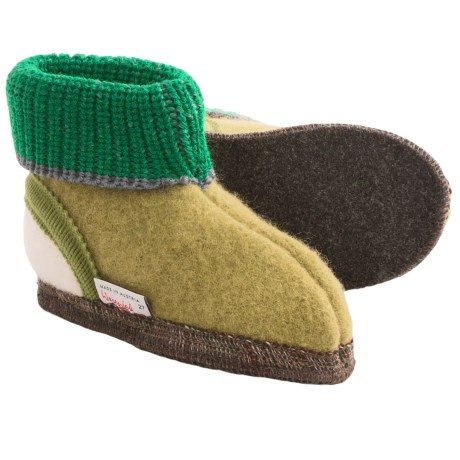 Wesenjak Slipper Booties with Cuff -  Boiled Wool (For Kids) in Moss Green/Green/White