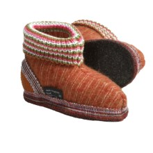Wesenjak Slipper Booties with Cuff -  Boiled Wool (For Kids) in Orange Stripe - Closeouts
