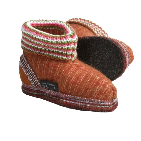 Wesenjak Slipper Booties with Cuff -  Boiled Wool (For Kids) in Yellow / Grey