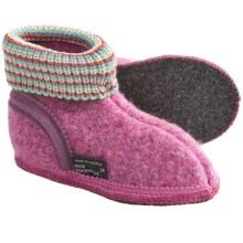 Wesenjak Slipper Booties with Cuff -  Boiled Wool (For Kids) in Raspberry Heather - Closeouts
