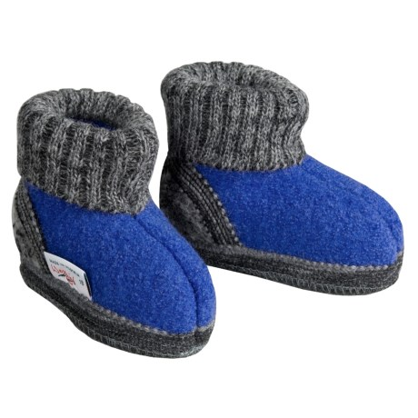 Wesenjak Slipper Booties with Cuff -  Boiled Wool (For Kids) in Royal / Grey Heather