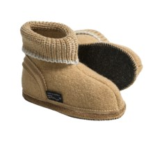 Wesenjak Slipper Booties with Cuff -  Boiled Wool (For Kids) in Tan - Closeouts