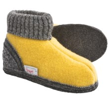 Wesenjak Slipper Booties with Cuff -  Boiled Wool (For Kids) in Yellow / Grey - Closeouts