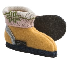 Wesenjak Slipper Booties with Cuff -  Boiled Wool (For Kids) in Yellow / Multi - Closeouts