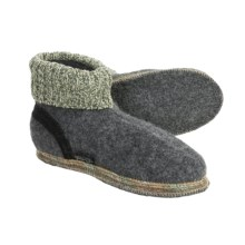 Wesenjak Slipper Booties with Cuff - Boiled Wool (For Men and Women) in Anthracite - Closeouts