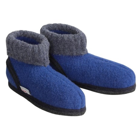 Wesenjak Slipper Booties with Cuff - Boiled Wool (For Men and Women) in Blue