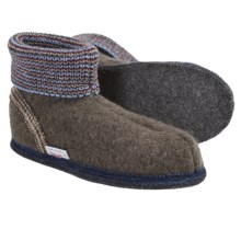 Wesenjak Slipper Booties with Cuff - Boiled Wool (For Men and Women) in Dark Taupe - Closeouts
