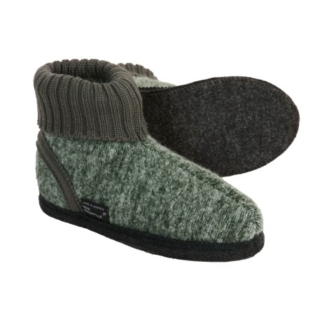Wesenjak Slipper Booties with Cuff - Boiled Wool (For Men and Women) in Green Heather