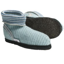 Wesenjak Slipper Booties with Cuff - Boiled Wool (For Men and Women) in Ice Blue Stripe - Closeouts