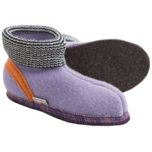Wesenjak Slipper Booties with Cuff - Boiled Wool (For Men and Women) in Lavender - Closeouts
