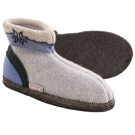 Wesenjak Slipper Booties with Cuff - Boiled Wool (For Men and Women) in Light Blue Marl/Blue