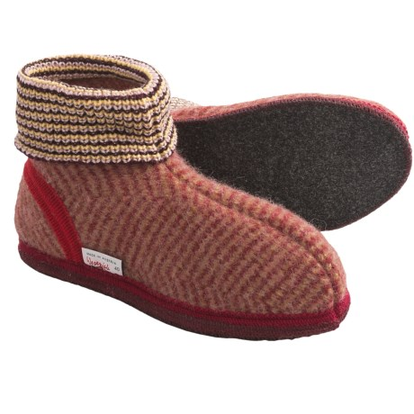 Wesenjak Slipper Booties with Cuff - Boiled Wool (For Men and Women) in Red/Light Red Stripe
