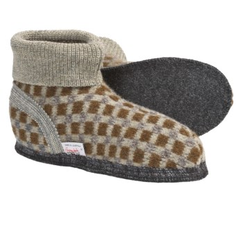 Wesenjak Slipper Booties with Cuff - Boiled Wool (For Men and Women) in Sage/Olive/Grey Check