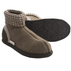 Wesenjak Slipper Booties with Cuff - Boiled Wool (For Men and Women) in Taupe/Dark Olive