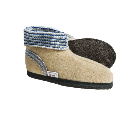 Wesenjak Slipper Booties with Cuff - Boiled Wool (For Men and Women) in Wheat