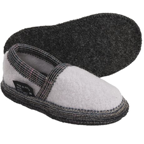 Wesenjak Slipper Moccasins - Boiled Wool (For Kids and Infants) in Light Brown Heather