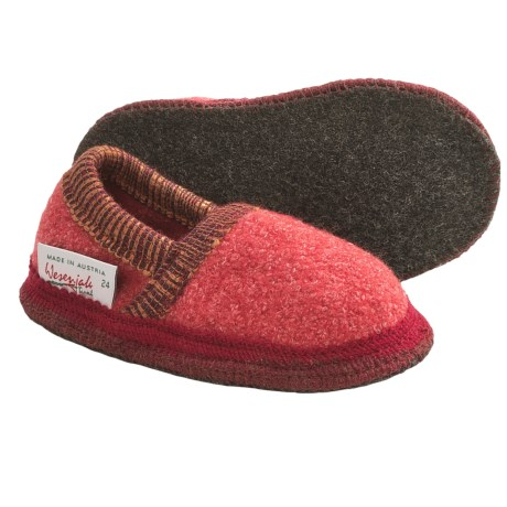 Wesenjak Slipper Moccasins - Boiled Wool (For Kids and Infants) in Light Red