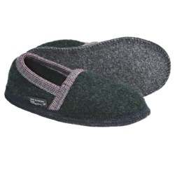 Wesenjak Slipper Moccasins - Boiled Wool (For Men and Women) in Dark Green