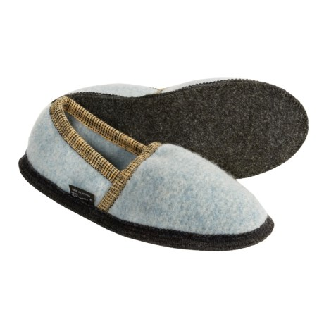 Wesenjak Slipper Moccasins - Boiled Wool (For Men and Women) in Light Blue Heather