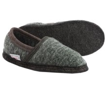 Wesenjak Slipper Moccasins - Boiled Wool (For Men and Women) in Olive Tweed / Dark Grey - Closeouts