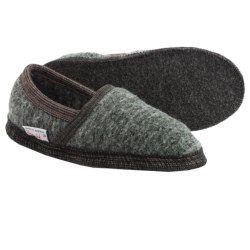 Wesenjak Slipper Moccasins - Boiled Wool (For Men and Women) in Olive Tweed / Dark Grey