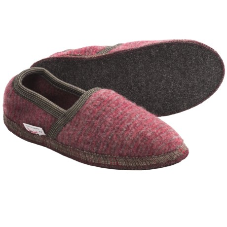 Wesenjak Slipper Moccasins - Boiled Wool (For Men and Women) in Red/Brown Stripe