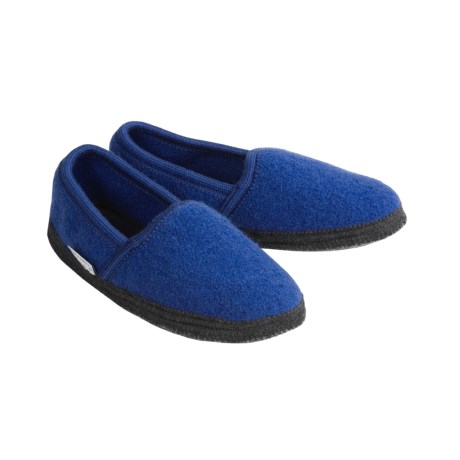 Wesenjak Slipper Moccasins - Boiled Wool (For Men and Women) in Royal
