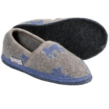 Wesenjak Slipper Moccasins - Boiled Wool (For Men and Women) in Tan/Light Blue Deer - Closeouts